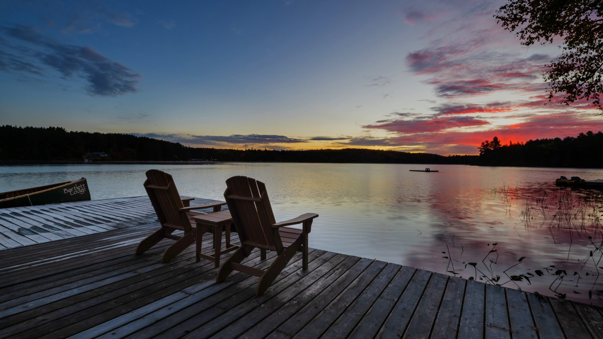 sunrise view from the dock at Bartlett Lodge