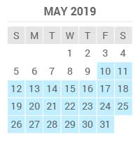 May 2019 low season between the 10th and 31st