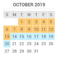 October 2019 high season from the 1st until the 13th low season from the 14th to the 20th