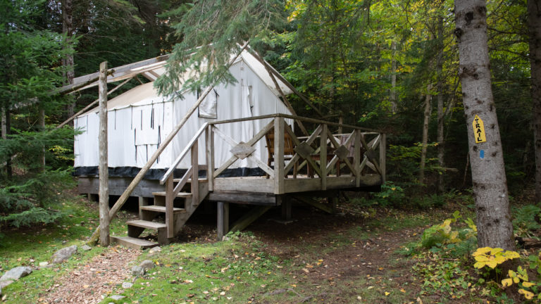 the outside of wood and canvas platform tent located in a coniferous forest