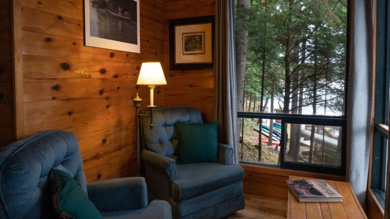two teal easy chairs with dark green decorative pillows in a log cabin facing large widows with a view of the lake, kayaks and pine trees